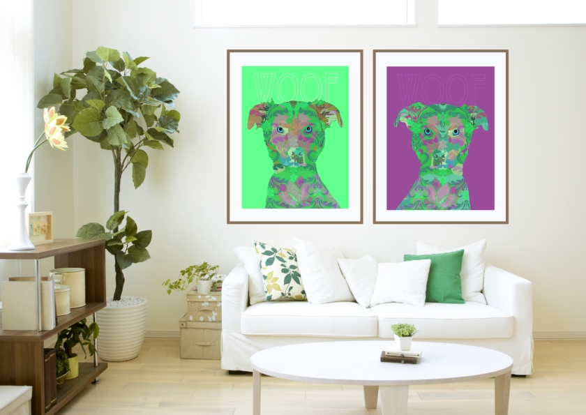 Left: WOOF (mint), Right: WOOF (raspberry) (Copyright © 2014 Paula Ogier