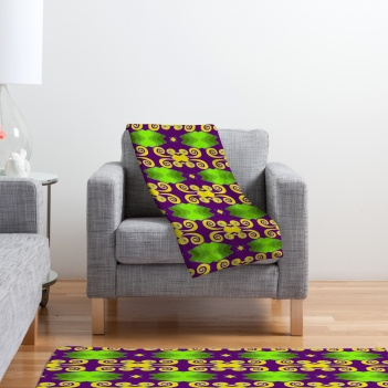 purple and green blanket